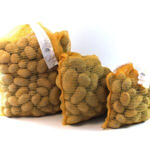 Srovnání velikostí balení našich konzumních brambor (zleva 25kg, 10kg, 5kg)